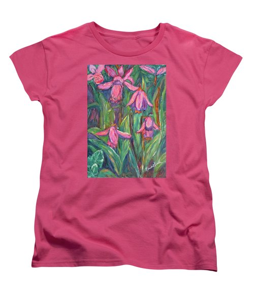 Women's T-Shirt (Standard Cut) featuring the painting Chinese Orchids by Kendall Kessler