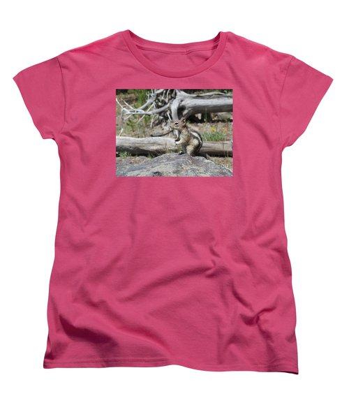 Chipmunk At Yellowstone Women's T-Shirt (Standard Cut) by Ausra Huntington nee Paulauskaite