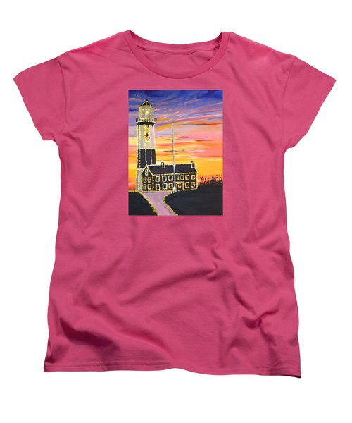 Christmas At The Lighthouse Women's T-Shirt (Standard Cut) by Donna Blossom