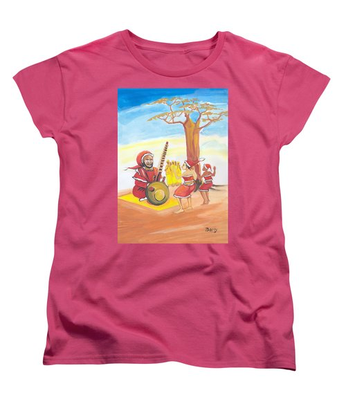 Women's T-Shirt (Standard Cut) featuring the painting Christmas In Senegal by Emmanuel Baliyanga