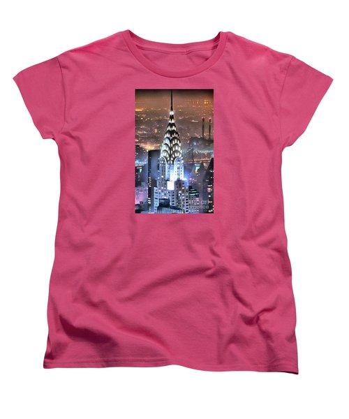 Women's T-Shirt (Standard Cut) featuring the digital art Chrysler Building At Night by Mick Flynn