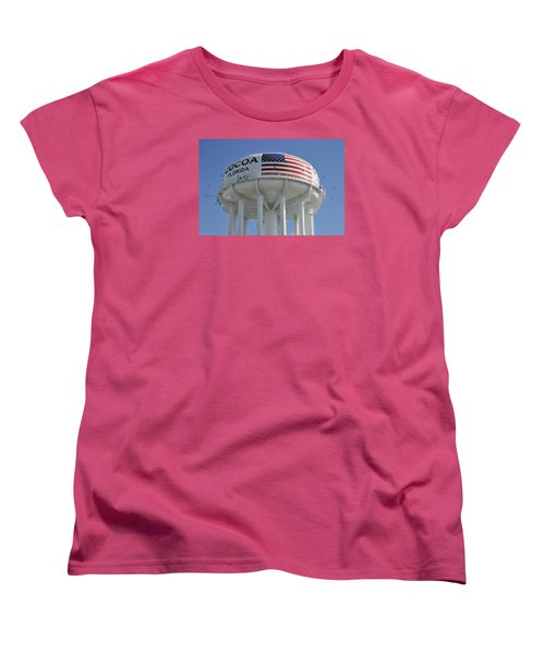 Women's T-Shirt (Standard Cut) featuring the photograph City Of Cocoa Water Tower by Bradford Martin