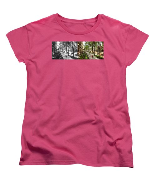 Women's T-Shirt (Standard Cut) featuring the photograph City - Saratoga Ny -  I Would Love To Be On Broadway 1915 - Side By Side by Mike Savad