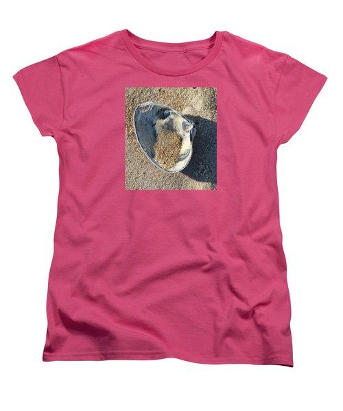 Clam Shell On Sea Girt Beach Women's T-Shirt (Standard Cut) by Melinda Saminski