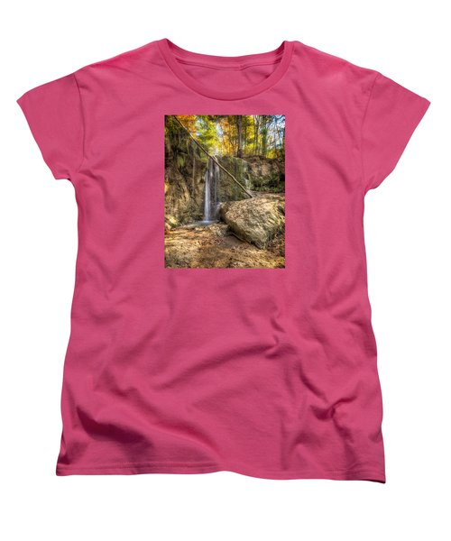 Women's T-Shirt (Standard Cut) featuring the photograph Clark Creek Nature Area Waterfall No. 1 by Andy Crawford
