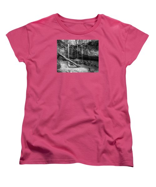 Women's T-Shirt (Standard Cut) featuring the photograph Clark Creek Nature Area Waterfall No. 2 In Black And White by Andy Crawford