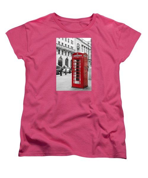 Red Telephone Box In London England Women's T-Shirt (Standard Cut) by John Williams