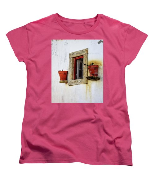 Women's T-Shirt (Standard Cut) featuring the photograph Clay Pots In A Portuguese Village by Marion McCristall