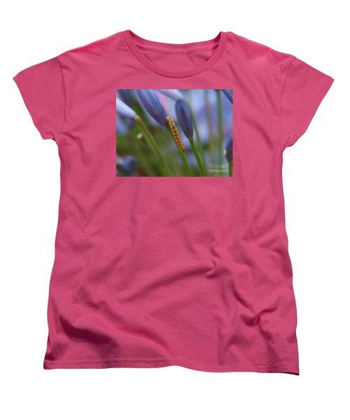 Women's T-Shirt (Standard Cut) featuring the photograph Climbing Caterpillar by Trena Mara
