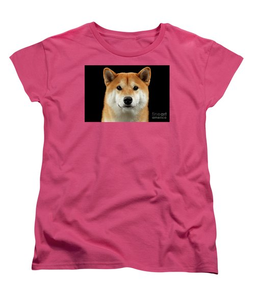 Close-up Portrait Of Head Shiba Inu Dog, Isolated Black Background Women's T-Shirt (Standard Cut) by Sergey Taran