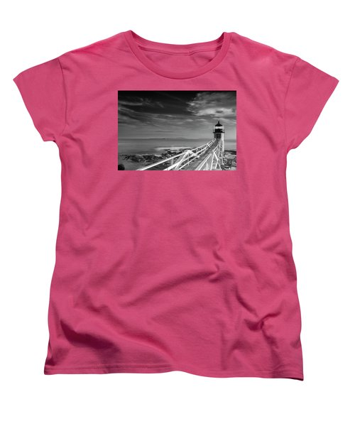 Women's T-Shirt (Standard Cut) featuring the photograph Clouds Over Marshall Point Lighthouse In Maine by Ranjay Mitra