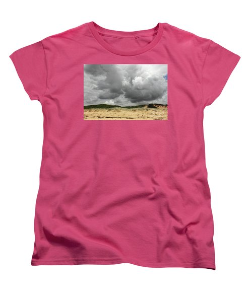 Women's T-Shirt (Standard Cut) featuring the photograph Cloudy Beach II By Kaye Menner by Kaye Menner