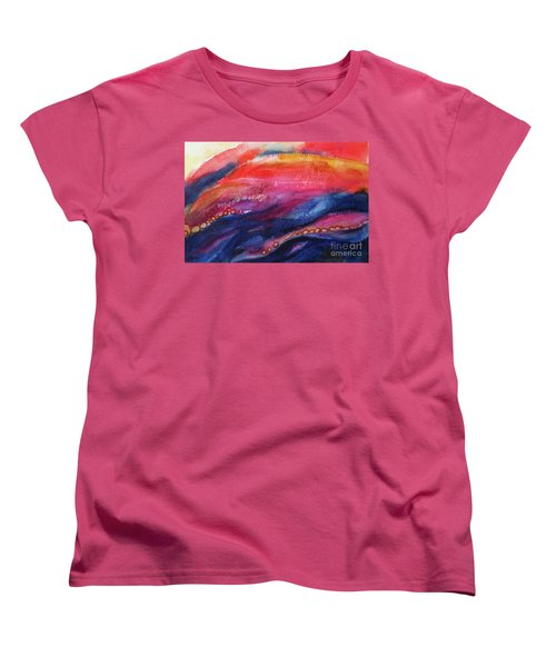 Women's T-Shirt (Standard Cut) featuring the painting Coatings And Deposits Of Color by Kathy Braud