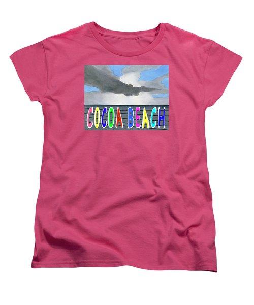 Cocoa Beach Poster T-shirt Women's T-Shirt (Standard Cut) by Dick Sauer
