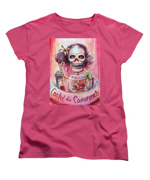 Women's T-Shirt (Standard Cut) featuring the painting Coctel De Camarones by Heather Calderon