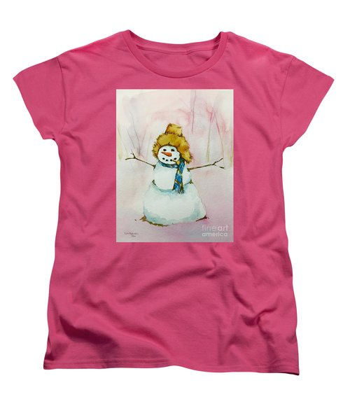 Women's T-Shirt (Standard Cut) featuring the painting Cody's First Frosty by Lynn Babineau