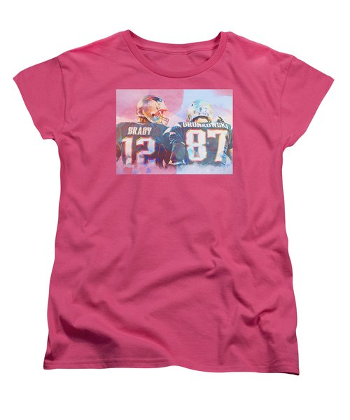 Women's T-Shirt (Standard Cut) featuring the painting Colorful Brady And Gronkowski by Dan Sproul