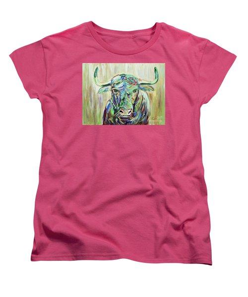 Colorful Bull Women's T-Shirt (Standard Cut) by Jeanne Forsythe