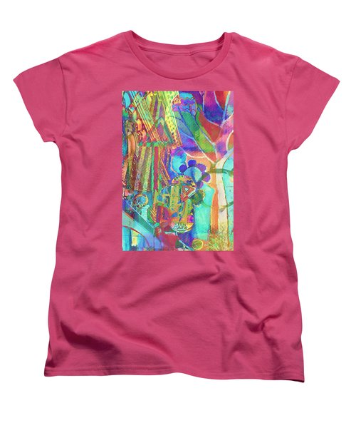 Colorful Cafe Abstract Women's T-Shirt (Standard Cut) by Susan Stone