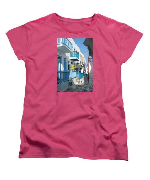 Women's T-Shirt (Standard Cut) featuring the photograph Colorful Mykonos by Carla Parris