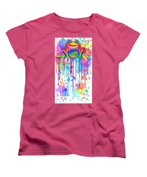 Women's T-Shirt (Standard Cut) featuring the painting Colorful Painted Frog  by Nick Gustafson