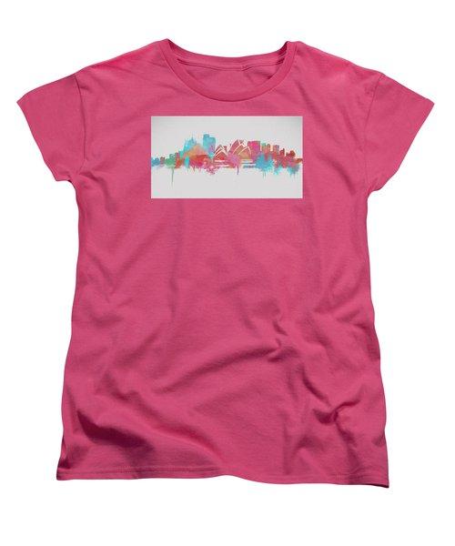 Colorful Sydney Skyline Silhouette Women's T-Shirt (Standard Cut) by Dan Sproul