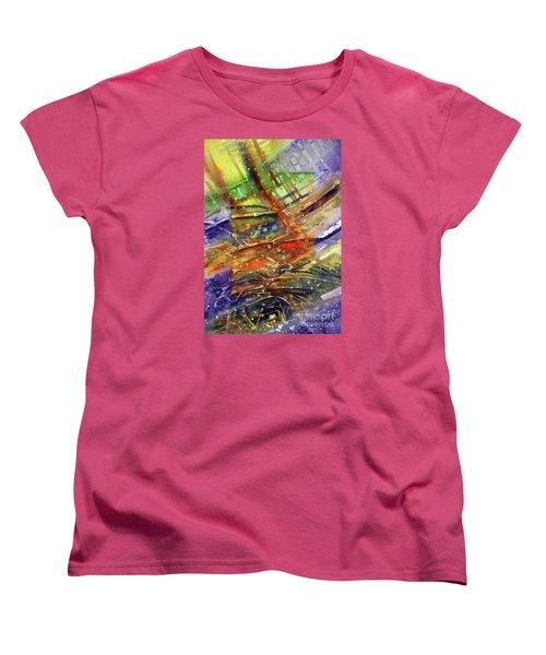 Women's T-Shirt (Standard Cut) featuring the painting Colors Interrupting by Allison Ashton