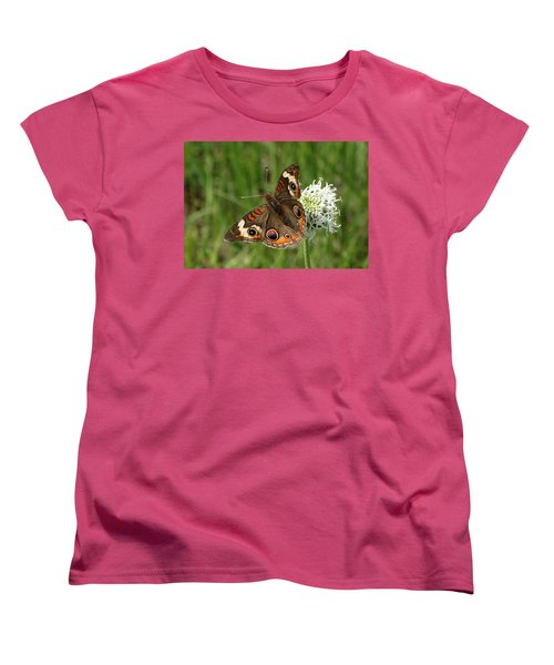Common Buckeye Butterfly On Wildflower Women's T-Shirt (Standard Cut) by Sheila Brown