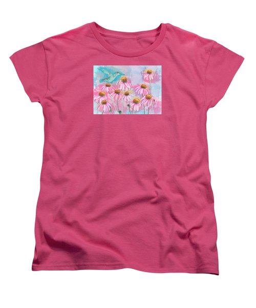 Coneflower Hummingbird Watercolor Women's T-Shirt (Standard Cut) by Patti Deters