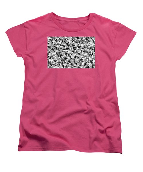 Women's T-Shirt (Standard Cut) featuring the photograph Controlled Chaos Bw by Everet Regal