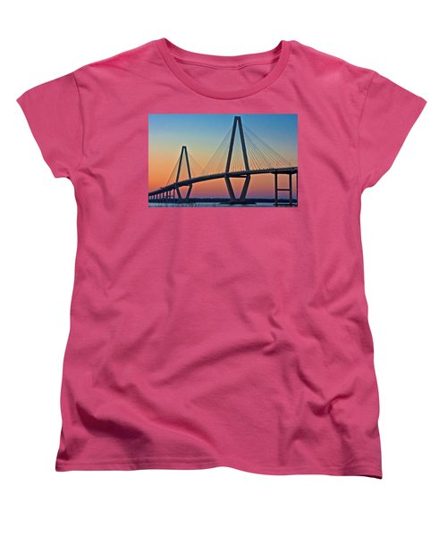 Cooper River Bridge Sunset Women's T-Shirt (Standard Cut) by Suzanne Stout