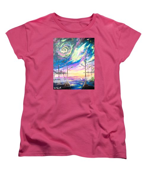 Women's T-Shirt (Standard Cut) featuring the painting Cosmic Florida by Dawn Harrell