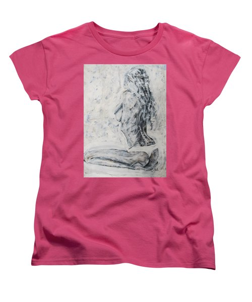 Women's T-Shirt (Standard Cut) featuring the painting Cosmic Love by Jarko Aka Lui Grande