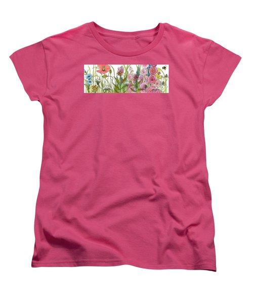 Cottage Hollyhock Garden Women's T-Shirt (Standard Cut) by Laurie Rohner