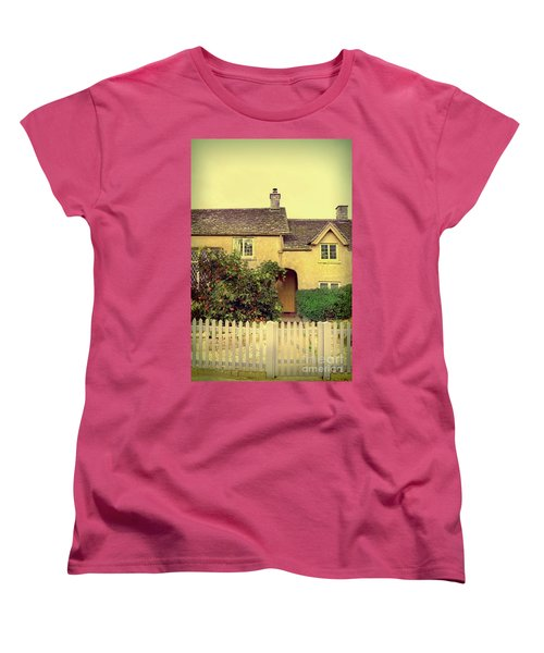 Cottage With A Picket Fence Women's T-Shirt (Standard Cut) by Jill Battaglia