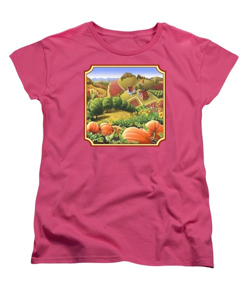 Country Landscape - Appalachian Pumpkin Patch - Country Farm Life - Square Format Women's T-Shirt (Standard Cut) by Walt Curlee