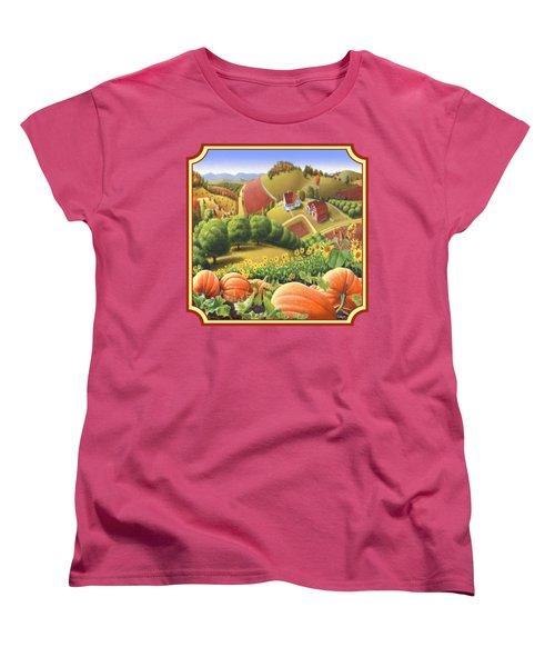Country Landscape - Appalachian Pumpkin Patch - Country Farm Life - Square Format Women's T-Shirt (Standard Cut)
