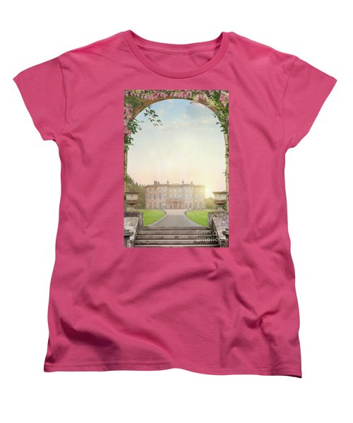 Country Mansion At Sunset Women's T-Shirt (Standard Cut) by Lee Avison