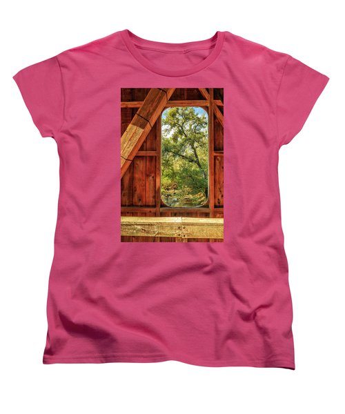 Women's T-Shirt (Standard Cut) featuring the photograph Covered Bridge Window by James Eddy