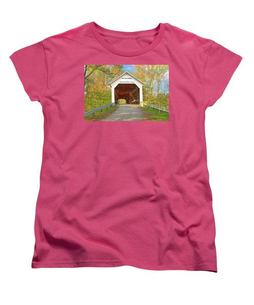 Women's T-Shirt (Standard Cut) featuring the photograph Cox Ford Covered Bridge by Harold Rau