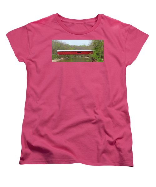 Women's T-Shirt (Standard Cut) featuring the photograph Cox Ford Covered Bridge - Sideview by Harold Rau