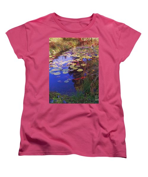 Women's T-Shirt (Standard Cut) featuring the photograph Coy Koi by Suzanne McKay