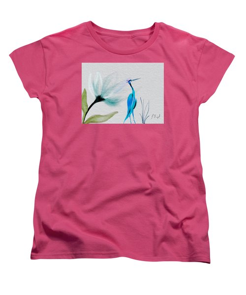 Crane And Flower Abstract Women's T-Shirt (Standard Cut) by Frank Bright