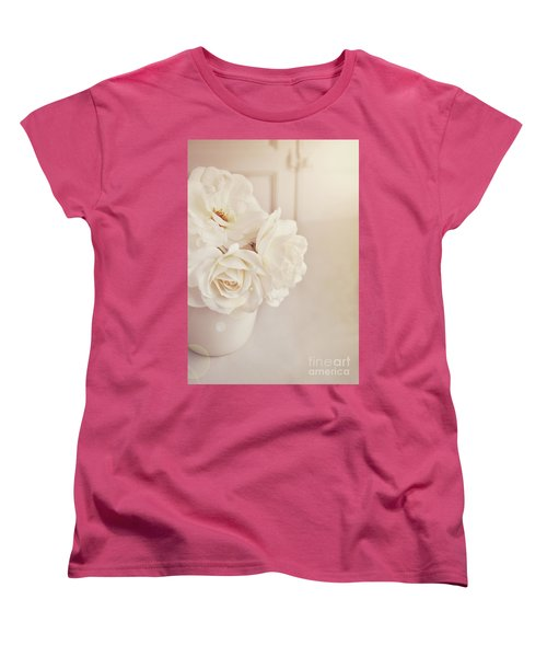 Women's T-Shirt (Standard Cut) featuring the photograph Cream Roses In Vase by Lyn Randle