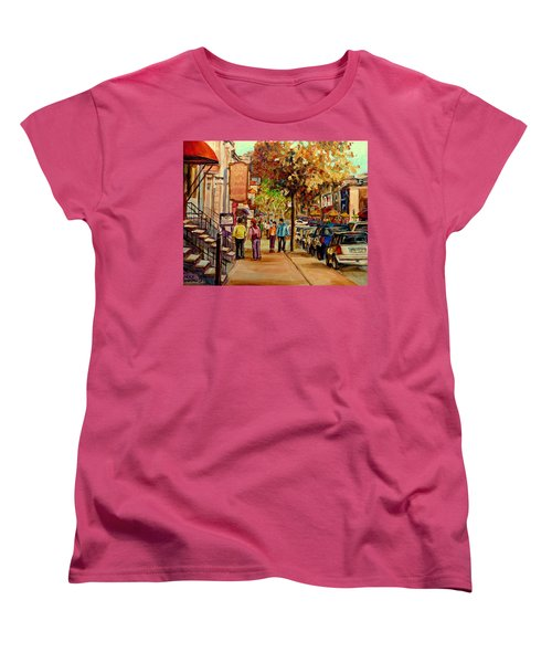 Women's T-Shirt (Standard Cut) featuring the painting Crescent Street Montreal by Carole Spandau