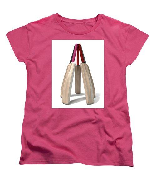 Cricket Bat Circle Women's T-Shirt (Standard Cut) by Allan Swart