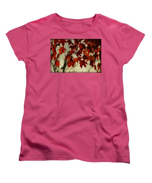 Women's T-Shirt (Standard Cut) featuring the photograph Crimson Red Autumn Leaves by Chris Berry