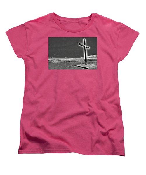 Women's T-Shirt (Standard Cut) featuring the photograph Cross On The Hill V2 by Douglas Barnard