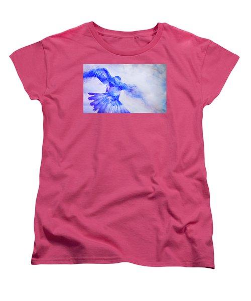 Crow In Flight Women's T-Shirt (Standard Cut) by Theresa Tahara
