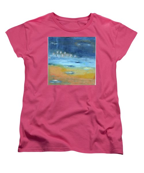 Women's T-Shirt (Standard Cut) featuring the painting Crystal Deep Waters by Michal Mitak Mahgerefteh